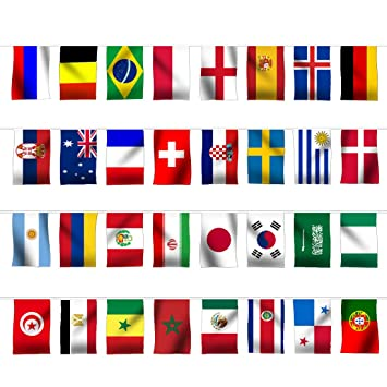 1cfc6cf9c612 LEOSO FIFA Russia 2018 World Cup Flags Decoration Top 32 String Flag  Banners International Flag Bunting for Bar Party Decorations