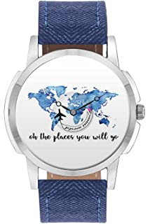 Buy bigowl analogue blue dial mens watch 200map01 blu online at travel watch bigowl oh the places you will travel design world map design leather strap gumiabroncs Images