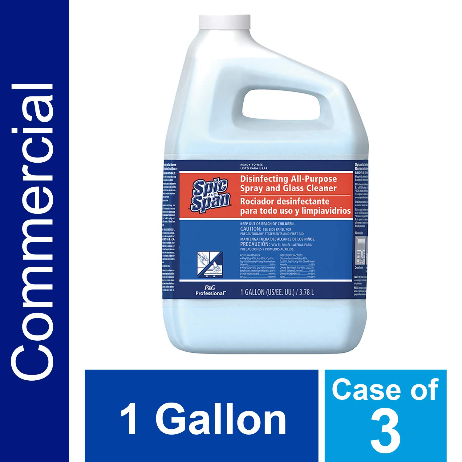 Disinfecting Surface and Glass Cleaner from Spic and Span Professional, Bulk 3-in-1 Multi-Purpose Cleaner, 15x Concentrate, Fresh Scent, All Purpose Commercial Use, 1 Gal. (Case of 3)