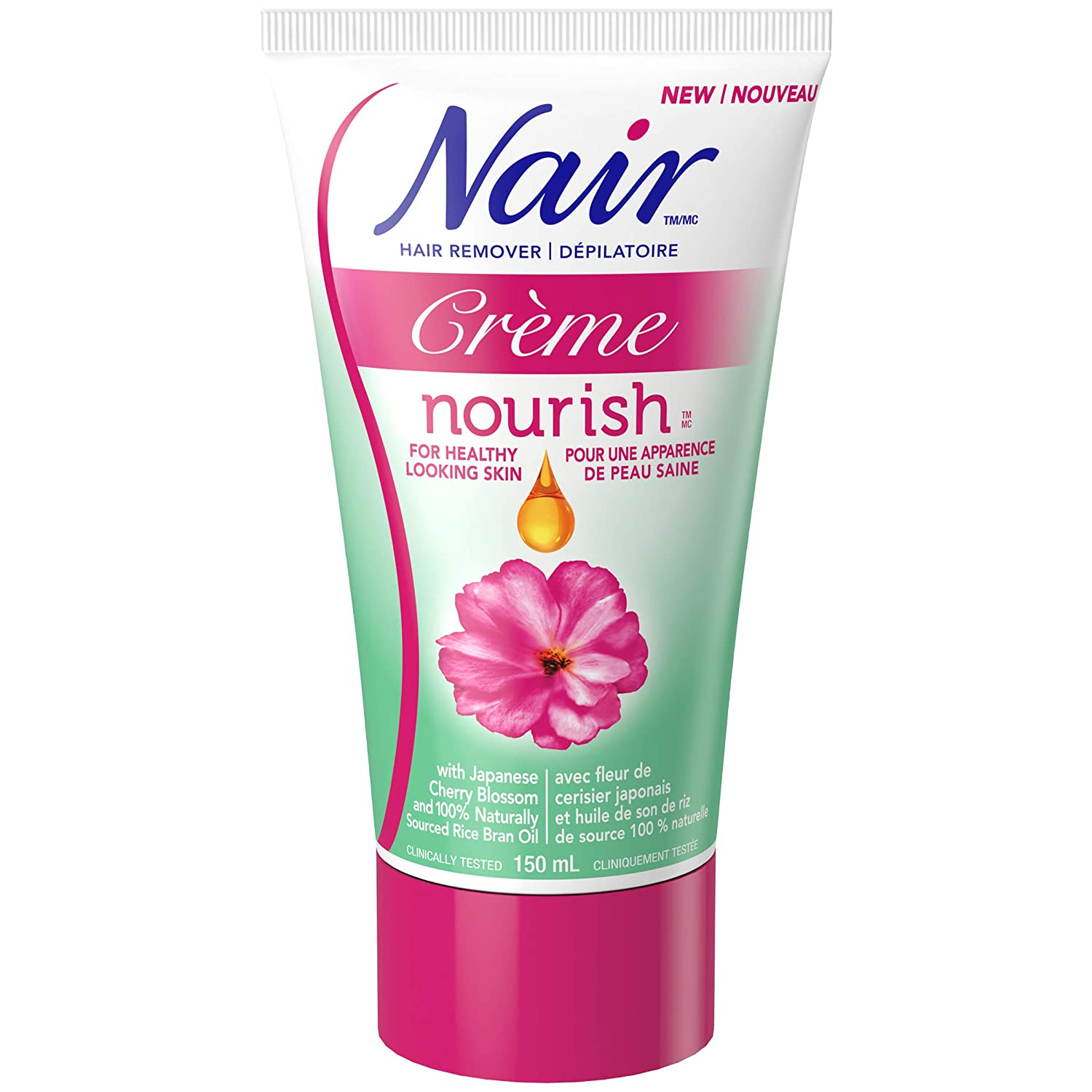Nair Nourish Hair Removal Crème with Japanese Cherry Blossom and Rice Bran Oil , 150-ml Church & Dwight CA