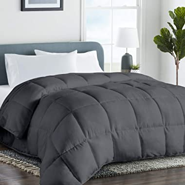 COHOME Queen/Full 2100 Series Summer Cooling Comforter Down Alternative Quilted Duvet Insert with Corner Tabs All-Season - Plush Microfiber Fill - Reversible - Machine Washable - Dark Grey