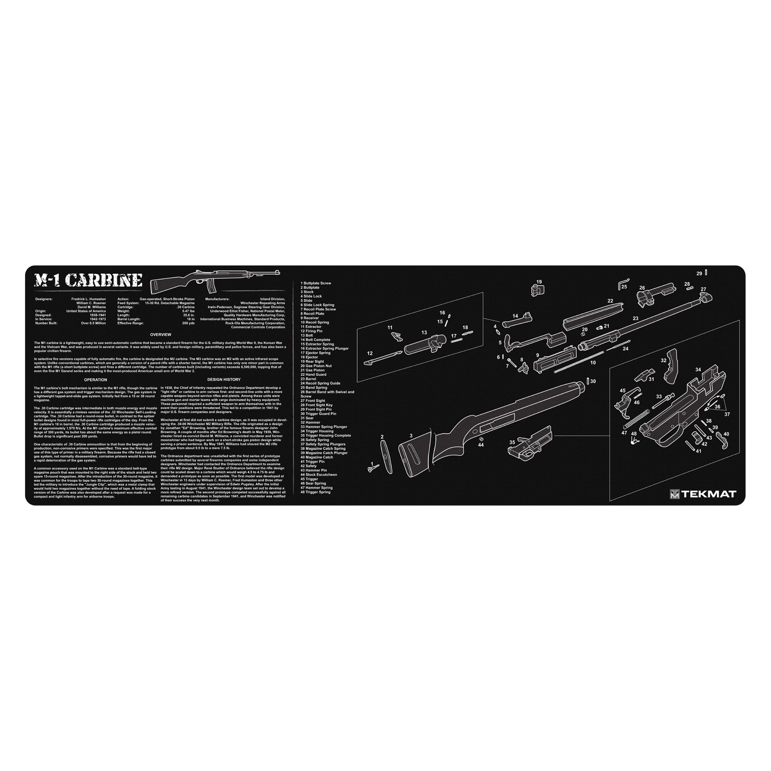 TekMat M1 Carbine Cleaning Mat / 12 x 36 Thick, Durable, Waterproof / Long Gun Cleaning Mat with Parts Diagram and Instructions / Armorers Bench Mat / Black by TekMat (Image #1)