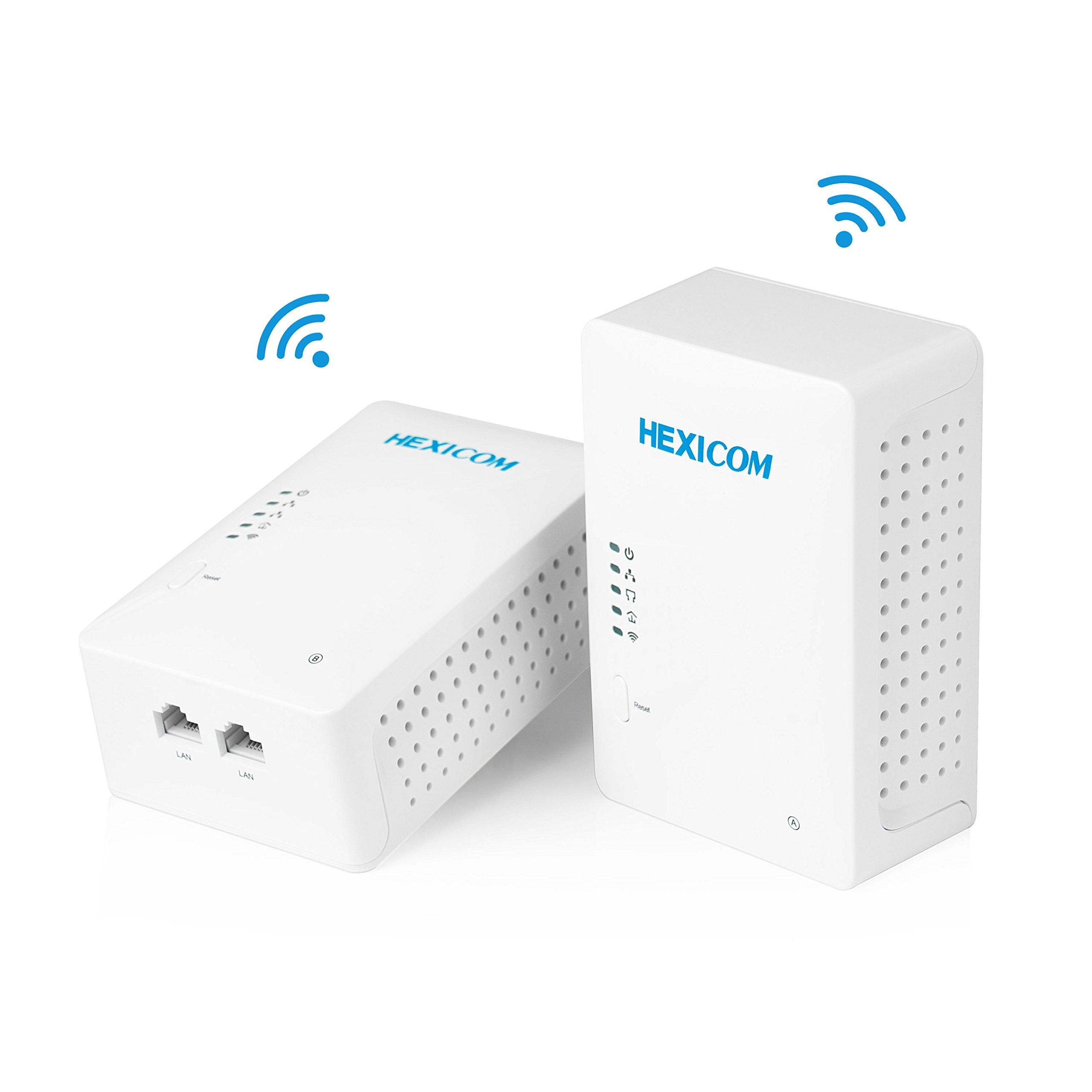 HEXICOM Av 500 Mbps Powerline Adapter with WiFi (Both with WiFi Support) Kit with IPTV Homeplug Bridge PLC 2 LAN Ports(HM500WE/HS500WE) by HEXICOM
