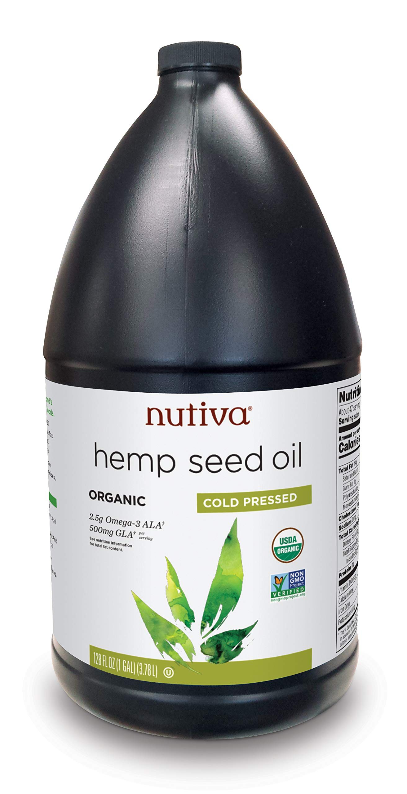 Nutiva Organic, Cold-Pressed, Unrefined Hemp Seed Oil from non-GMO, Sustainably Farmed Canadian Hemp, 128-ounces by Nutiva