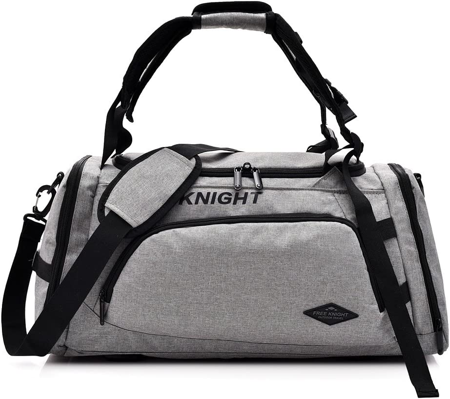 Amazon.com | 35-40L 3 Way Waterproof Sports Gym Travel Weekender Duffel Bag with Shoe Compartment Overnight Bag (Light Gray) | Sports Duffels