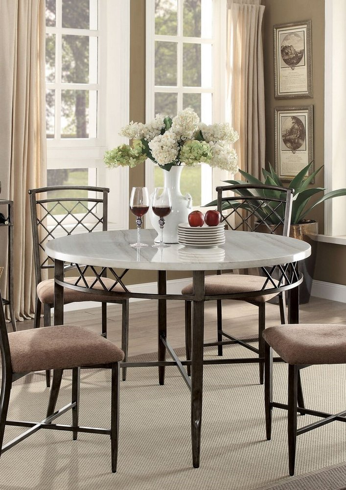 Acme Aldric Faux Marble Dining Table, Antique Finish by Acme Furniture