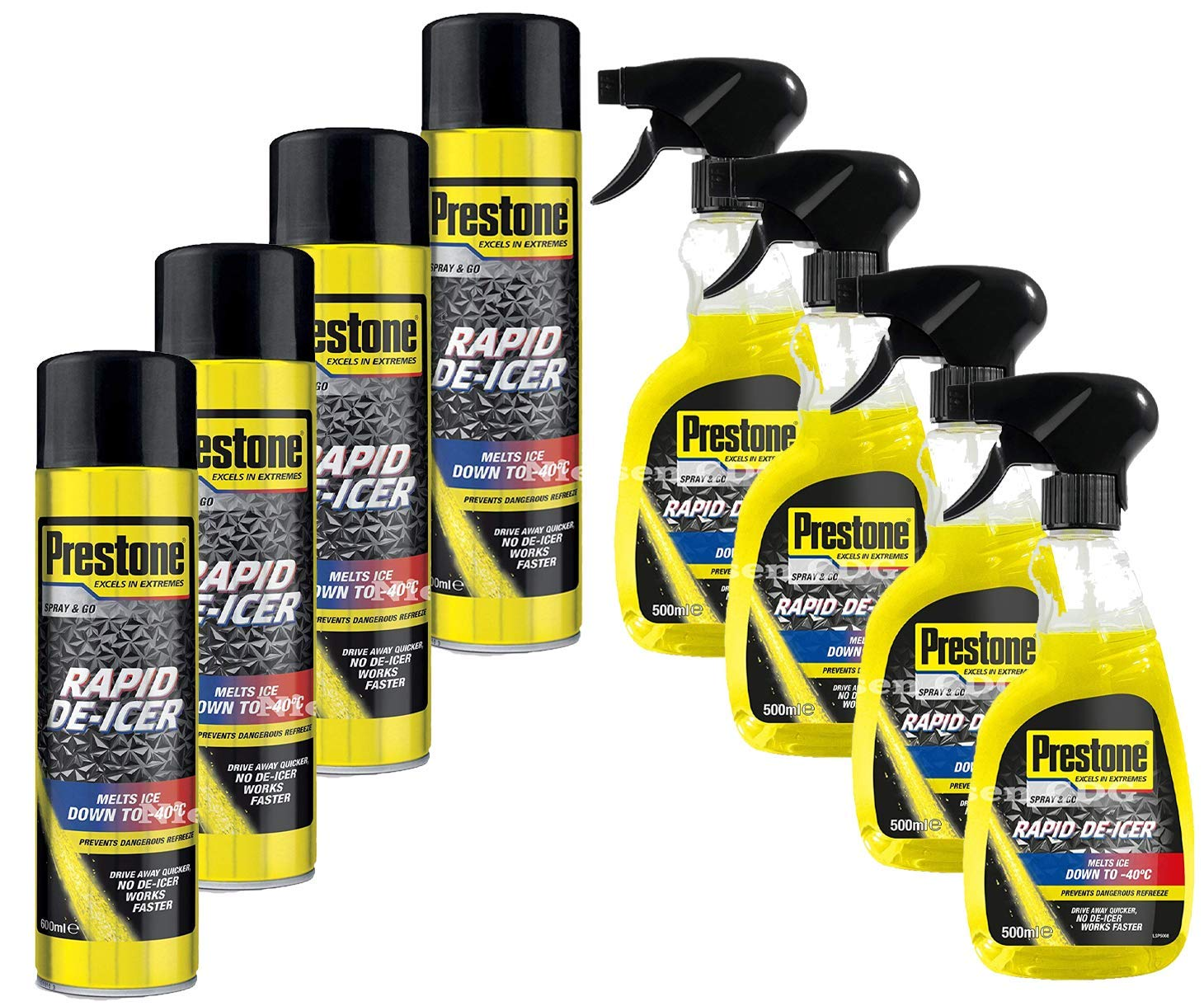 Prestone Trigger De-Icer 500ml x4 + Spray Can 600ml x4