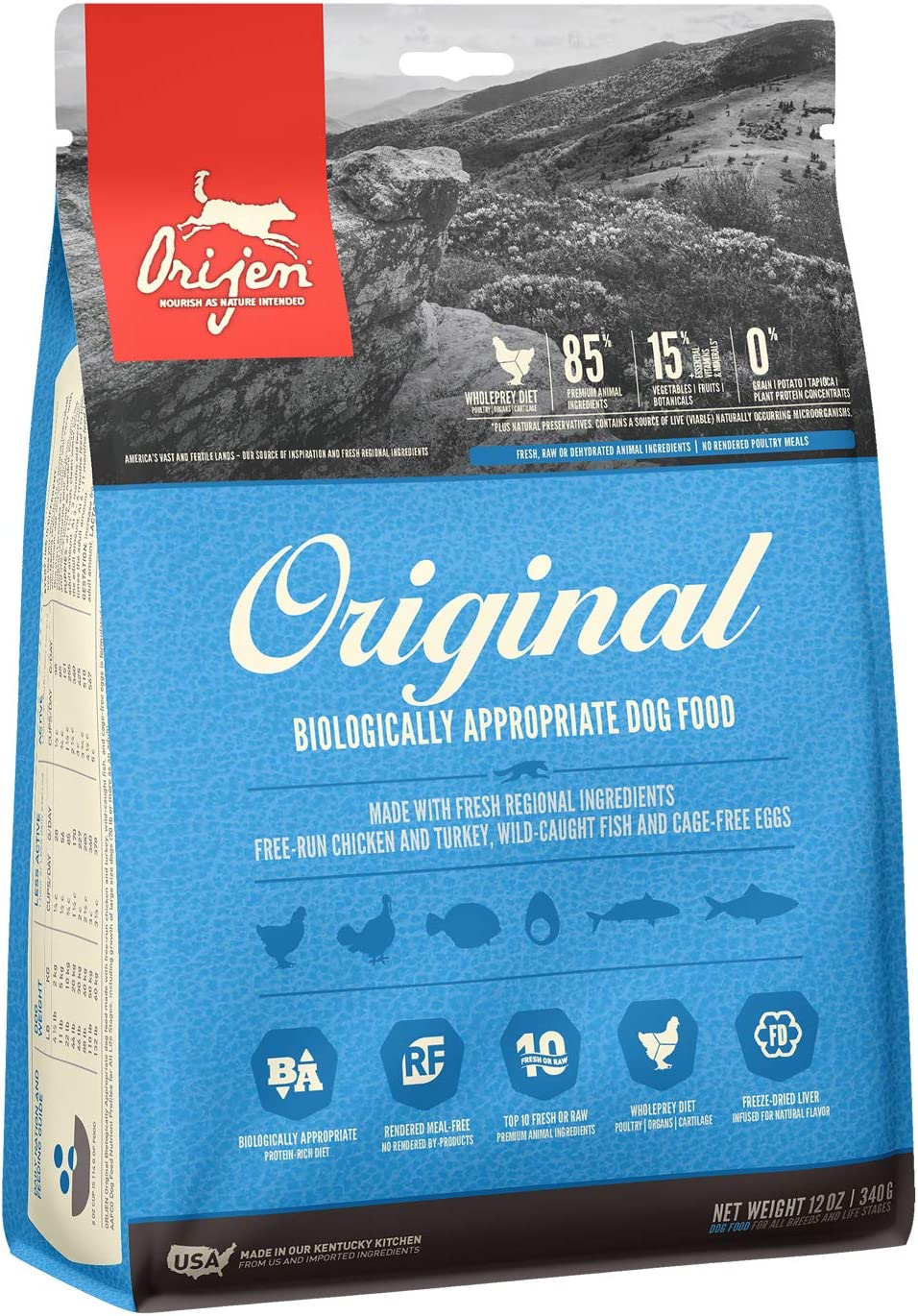 ORIJEN Dry Dog Food, Grain Free, High Protein, Fresh and Raw Animal Ingredients