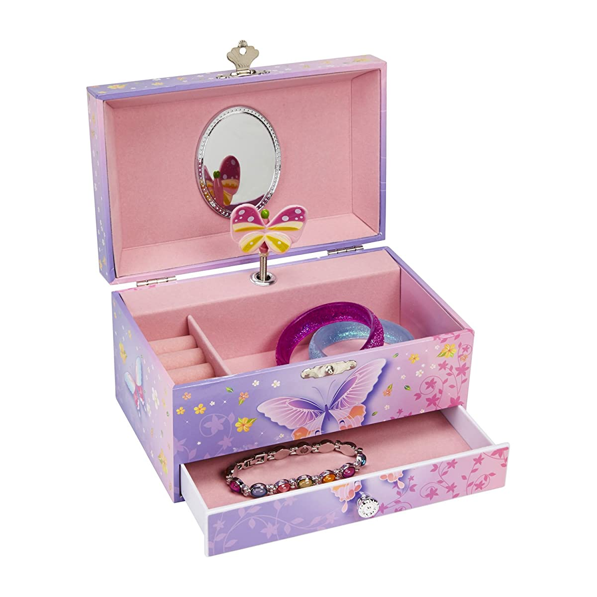 JewelKeeper Butterfly Flower Music Jewelry Box with Pullout Drawer, Jewel Storage Case, Purple and Pink Design, Waltz of the Flowers Tune