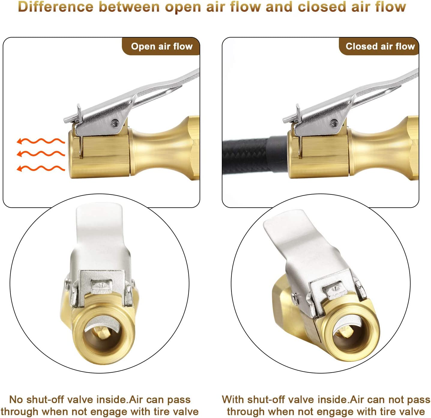 6 Pieces Brass Air Chuck Closed Flow Straight Tire Chuck with Clip for Tire Inflator Gauge Compressor Accessories