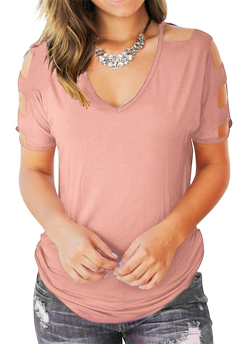 Eanklosco Womens Summer Short Sleeve Cold Shoulder Tops V Neck Basic T Shirts (Pink, XL)