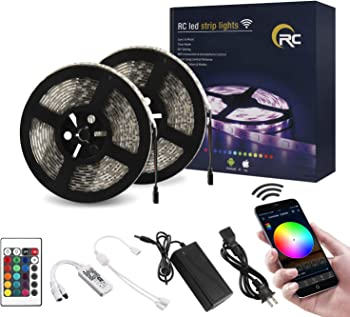 RC WiFi 32.8ft RGB LED Strip Lights with Remote