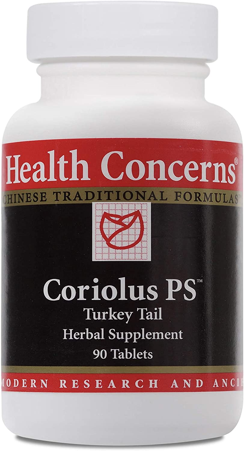 Health Concerns – Coriolus PS – Turkey Tail Chinese Herbal Supplement – Activates Macrophage Function – with Trametes Versicolor Extract – 90 Tablets per Bottle