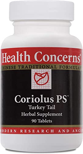 Health Concerns – Coriolus PS – Turkey Tail Chinese Herbal Supplement – Activates Macrophage Function – with Trametes Versicolor Extract – 90 Count