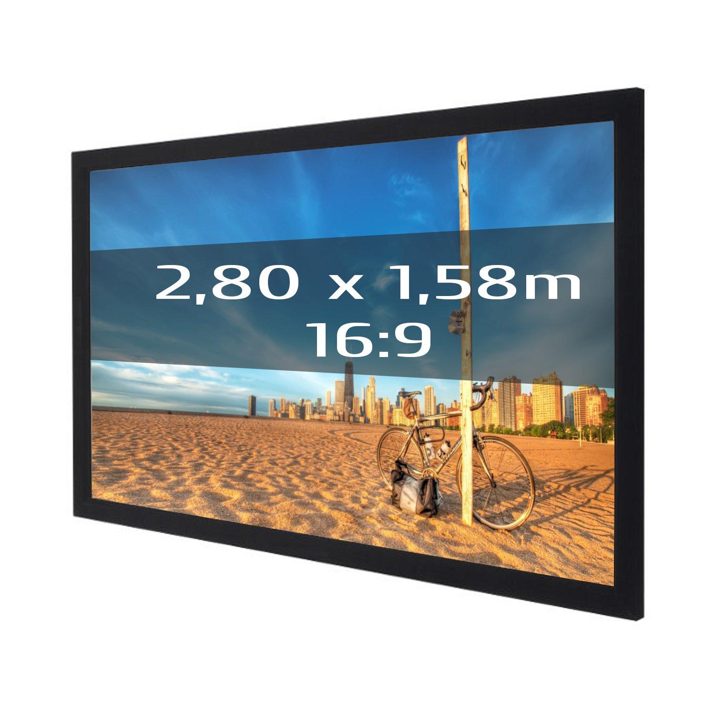 Pantalla de proyección fija con marco 280x158 cm (16/9)- Tela ...
