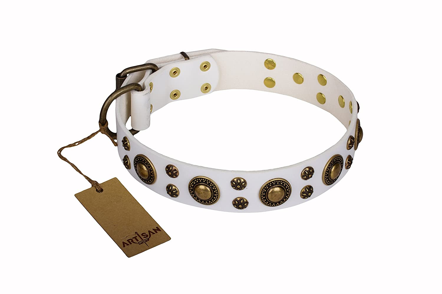 36 inch 36 inch White Leather Dog Collar with Brass Plated Decor  golden Purity  Handcrafted by Artisan