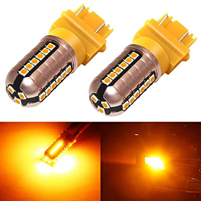 Phinlion 3157 LED Orange Turn Signal Light 3000 Lumens Super Bright 3030 27-SMD LED Chips 3057 3457 3156 4057 4157 LED Bulbs for Blinker Lights, Amber Yellow: Automotive