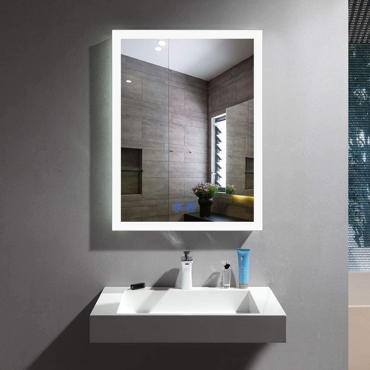 Amazon Com Decoraport Dimmable Led Wall Mounted Mirror With Antifog Lighted Vanity Bathroom Mirror With Touch Button 20x28 Inch Vertical Horizontal Mount Makeup Mirror With Lights Nt16 2028 Home Kitchen