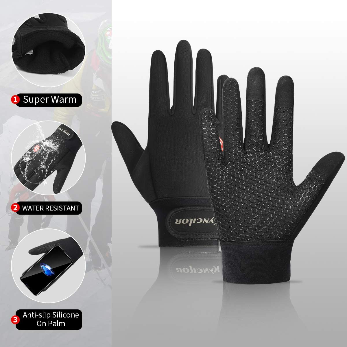 Driving Skiing Outdoor Sports Winter Running Gloves Touchscreen Thermal Gloves Men Women Winter Windproof /& Waterproof Gloves Snow Warm Gloves Liners for Running Cycling