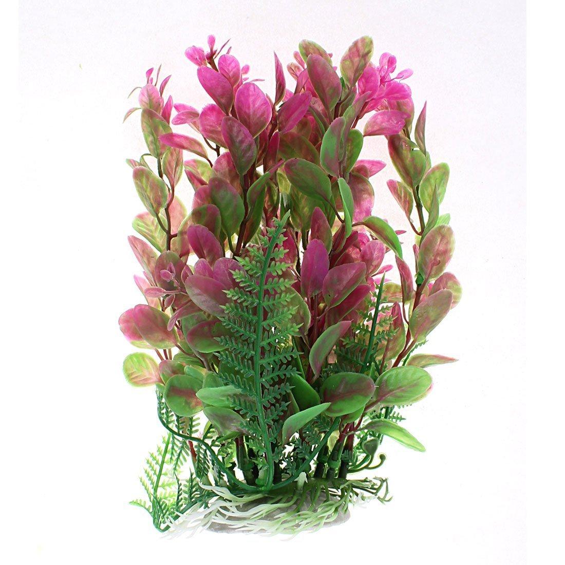 1Pc Plastic Aquarium Aquascaping Plant Decor 17cm Height Green Fuchsia
