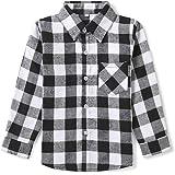 OCHENTA Ni/ño Camisas de Manga Larga a Cuadros para Ni/ñas Corta con Botones para Ni/ños