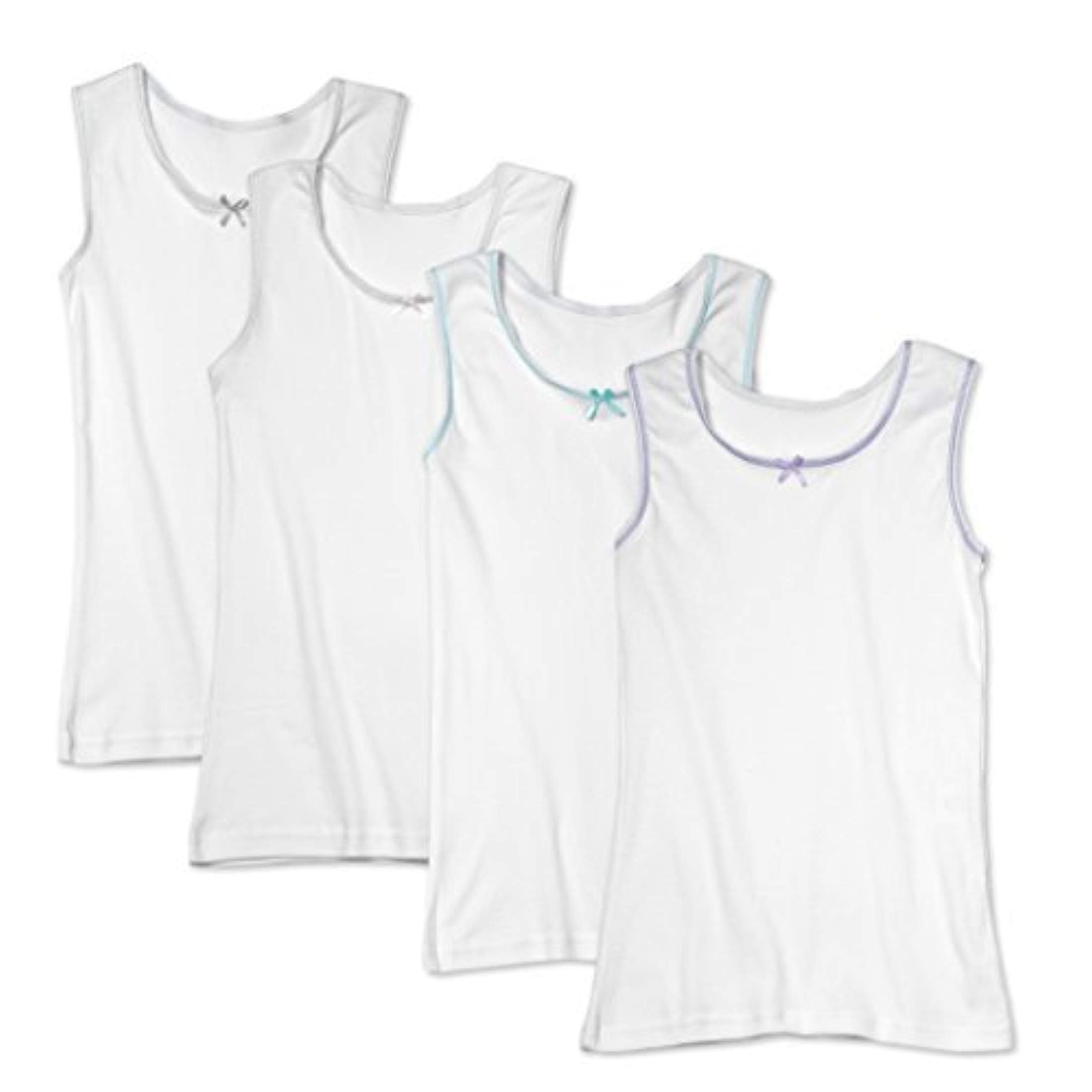 Buyless Fashion Little Girls 100% Cotton White Scoop Neck Undershirt with Colored Trim (4 Pack) 6-7