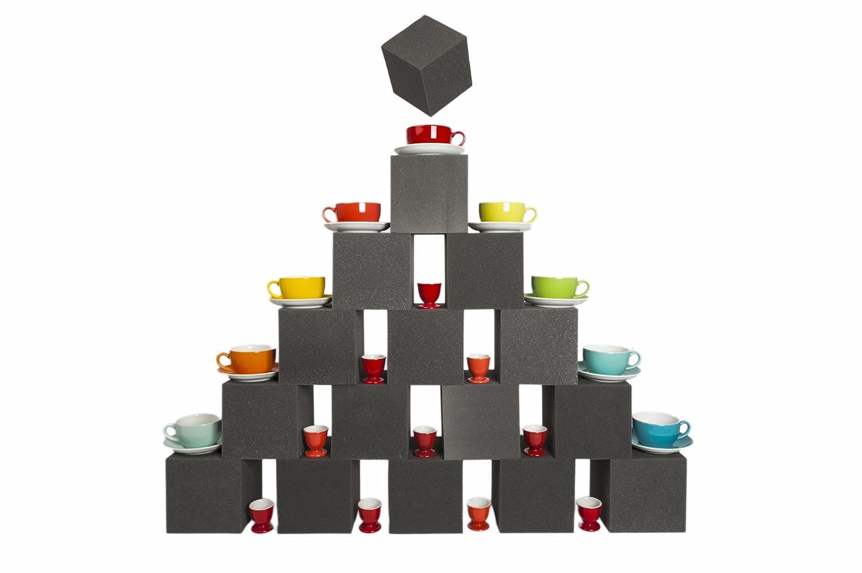 16 Stück Schaumstoff Würfel 15x15x15cm Warenträger, Dekopyramide für Schaufenster und Ladeneinrichtung wohnen.com