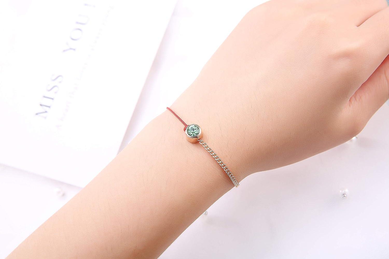 Msurs October Birthstone-Toned Crystal Diamond Bracelet for Girls