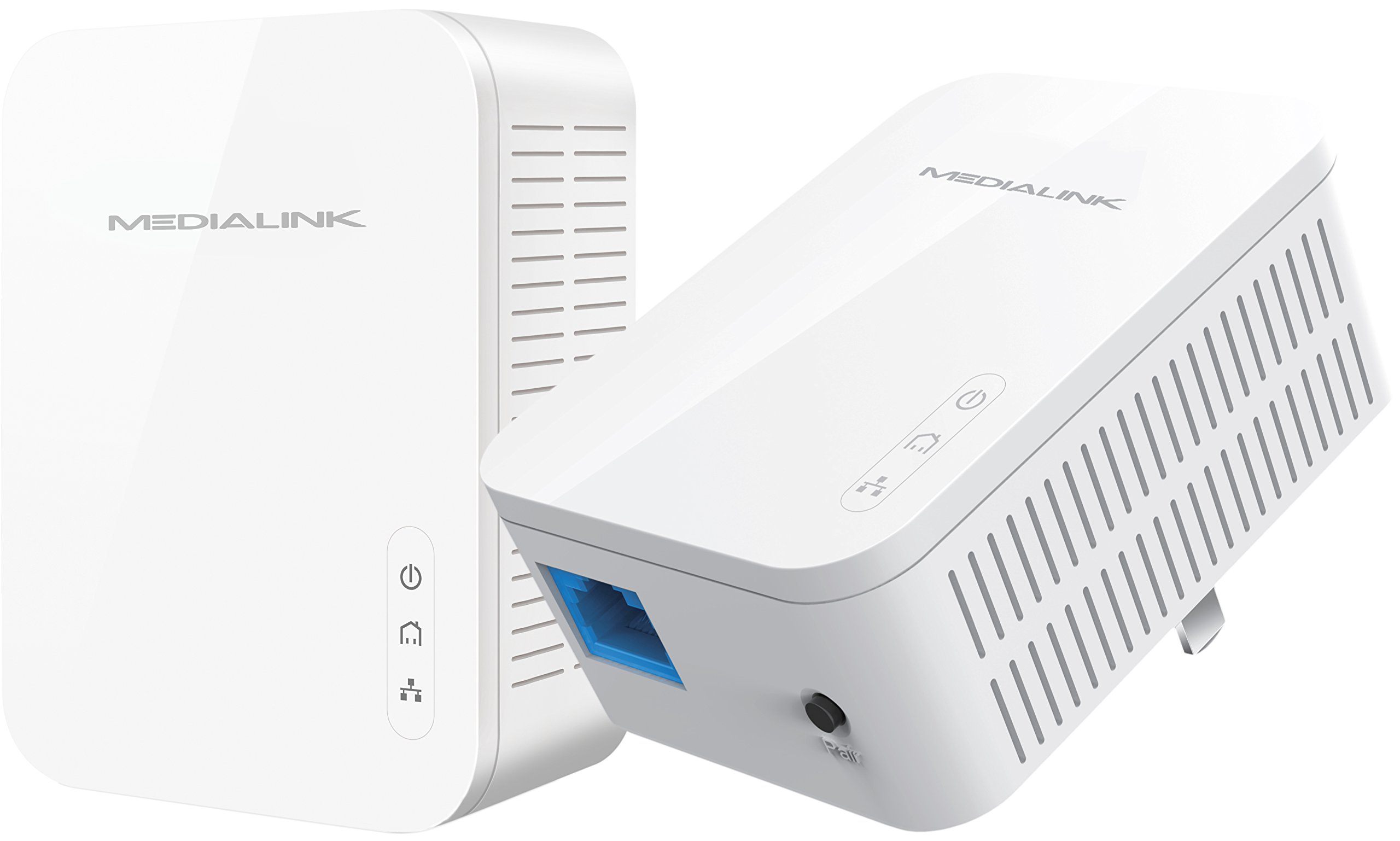 Medialink Gigabit Powerline Adapter Kit (2 Units) - Ethernet Homeplug with Gigabit (1000 Mbps) Wired Speed (Part# MPLA-1000X2) by Mediabridge (Image #1)