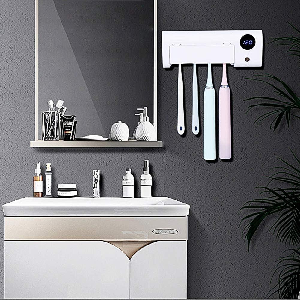 Vinkki UV Toothbrush Sanitizer Wall Mounted Bathroom LED UV Toothbrush Holder Toothbrush Organizer 2000mAh Charging Timing Function 4 Slots for Family Ladies Men Baby Kids Bathroom