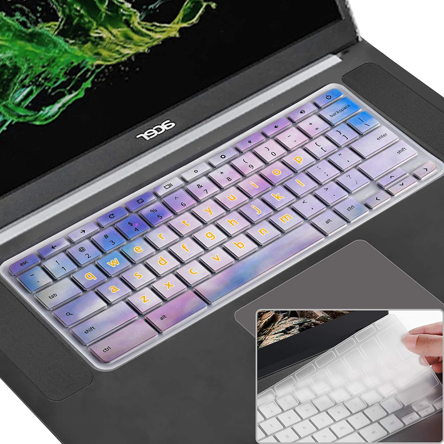 [2 Pack] Keyboard Cover Skin Compatible Acer chromebook R11 11.6 inch CB3-131 CB3-132,CB5-132T,CB3-131,Chromebook R 13, CB5-312T,Chromebook 15,CB3-531 CB5-571 C910,Colorful Ink+Clear