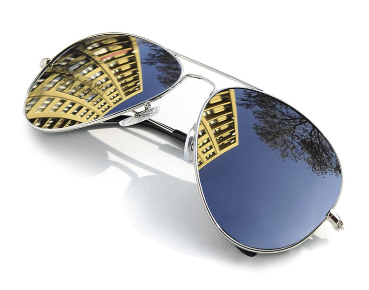 4sold UNISEX MENS WOMENS 70's Designer Style Unisex Silver Mirror Sunglasses - UV400 Protection - One Size Fits All - Full Mirrored Lenses