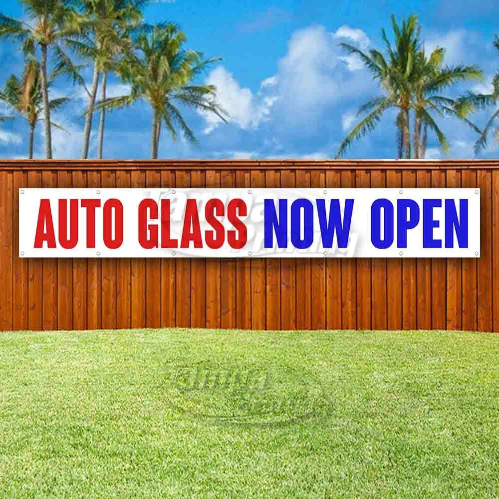 Store Flag, Many Sizes Available Advertising AUTO Glass Now Open Extra Large 13 oz Heavy Duty Vinyl Banner Sign with Metal Grommets New