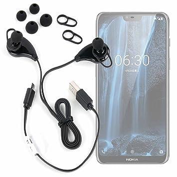 DURAGADGET Auriculares inalámbricos en Color Negro para Smartphone Nokia 2.1, Nokia 3.1, Nokia 5.1