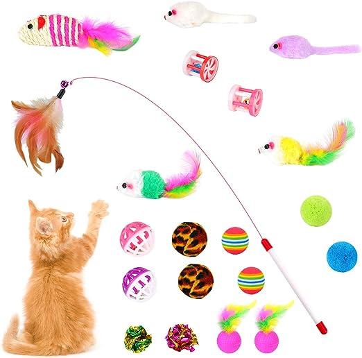 EKKONG Juguetes para Gatos, Juguete Interactivo para Gatos, Juguete Gato con Ratóns y Bolas, Juguete Pluma de Gato para Gatos Gatito (20 Piezas): Amazon.es: Productos para mascotas