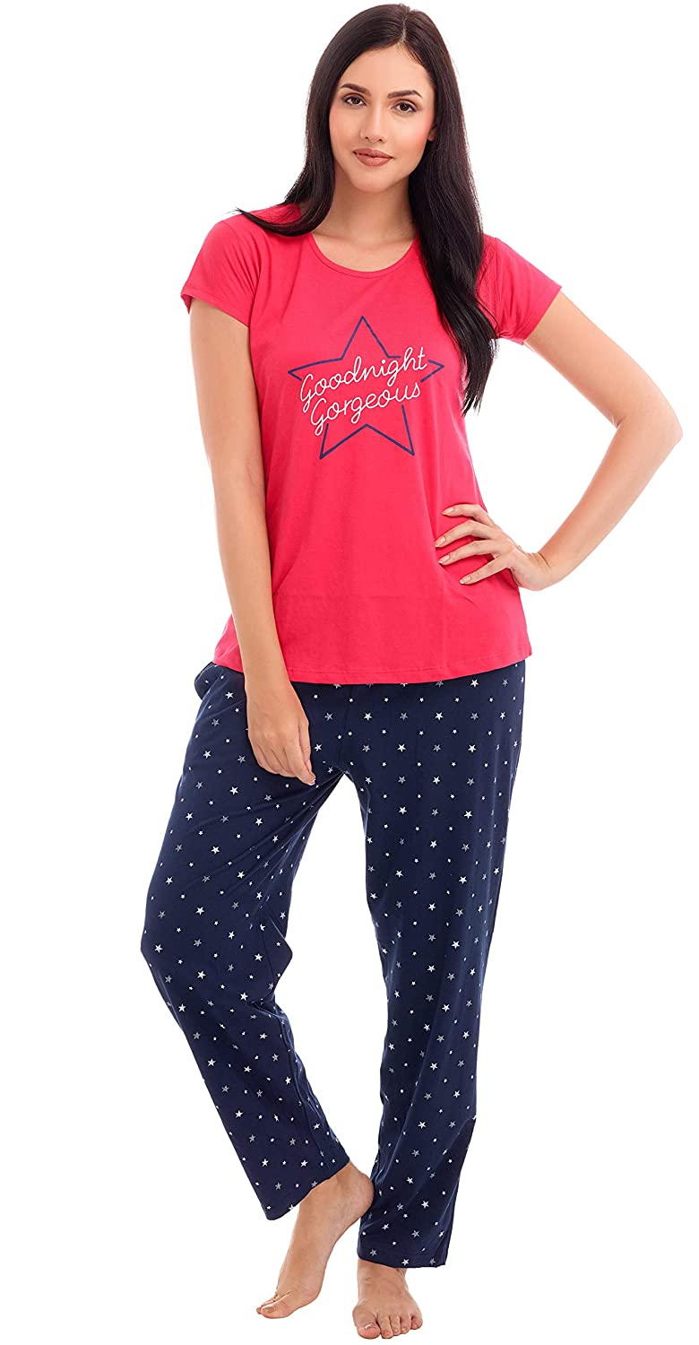 6883495d4 ZEYO Women s Star Print Cotton Night Suit  Amazon.in  Clothing   Accessories