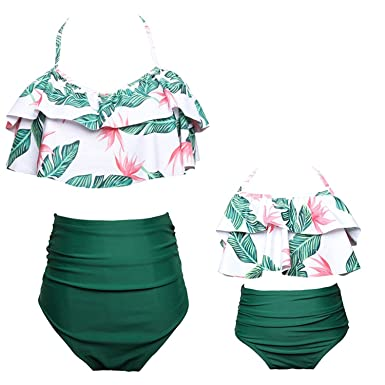 da1cdcc151 Amazon.com: BANGELY Kids Girls Ruffle Floral Print High Waist Bikini  Swimsuit Family Matching Mother Girl Beachwear: Clothing