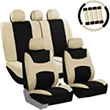 FH Group FB030BEIGEBLACK115-COMBO Seat Cover Combo Set with Steering Wheel Cover and Seat Belt Pad (Airbag Compatible…