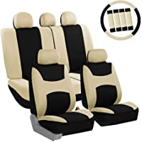FH Group FB030BEIGEBLACK115-COMBO Seat Cover Combo Set with Steering Wheel Cover… photo