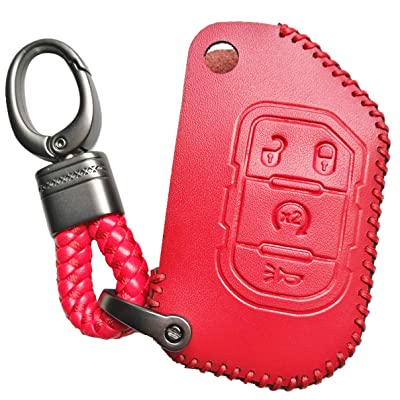 Alegender 4 Buttons Flip Key Leather Cover Case Fob Skin Bag Remote Jacket Protector Fit for 2020 2020 2020 Jeep Wrangler JL JLU Rubicon Gladiator JT 68292944AA Red: Automotive