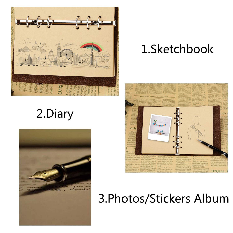 SEEALLDE Notebook B6 con Pagine Bianche Diario in PelleMappa del Mondo Vintage Diario Notepad Blu B6