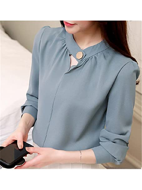 FANGZHENG 2018 Women Tops and Blouses Spring Long Sleeve Chiffon Blouse Women Casual V-Neck