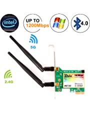 Bluetooth WiFi Card AC 1200Mbps,Wireless WiFi PCIe Network Adapter Card 5GHz/2.4GHz Dual Band PCI Express Network Card with Bluetooth 4.0 and 2×Antenna for Desktop/PC Gaming(WIE7265)