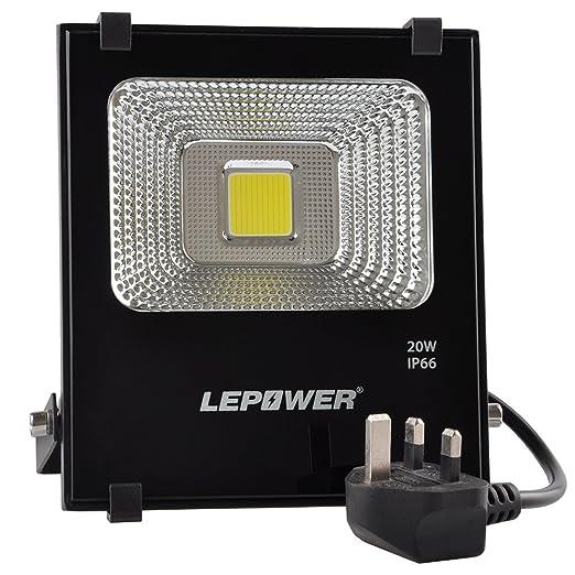 LEPOWER 20W LED Floodlight, Super Bright Outdoor Work Lights, 100W Halogen  Bulbs Equivalent,