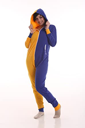 Funzee Blue Gold Adult Onesie, Non Footed Pajama Suit, Sizes XS to XXL (XS (Petite))