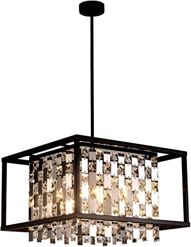 BEIRIO Modern K9 Crystal Pendant Lighting with 4-Lights Bulbs Included Rectangle Black Metal Shape Adjustable Island Light for Dining Room Kitchen Living Room Bedroom Table Restaurant, 15.7 30.3 inch