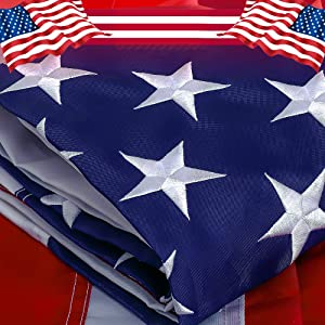 Freefy American Flag 4x6 ft- Embroidered Stars,Sewn Stripes,Durable and Long Lasting Nylon,Brass Grommets,Perfect for Indoor/Outdoor Use Heavy Duty US USA Flags.