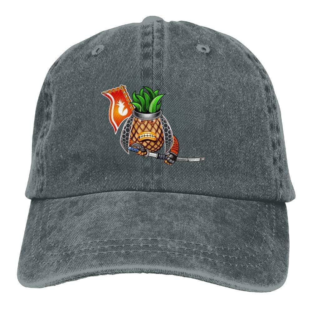 JTRVW Pineapple Samurai Denim Hat Adjustable Womens Plain Baseball Hats