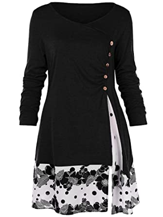 47495c26ef2 Plus Size Draped Floral Long Tunic Shirts Long Sleeve O-Neck Buttons ...