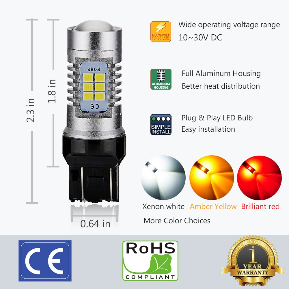 Works as Turn Signal Blinker Lights 12-24V 21-SMD with Projector Lens Amber Yellow ENDPAGE 1157 2357 2057 7528 BAY15D LED Bulb 2-pack Extremely Bright